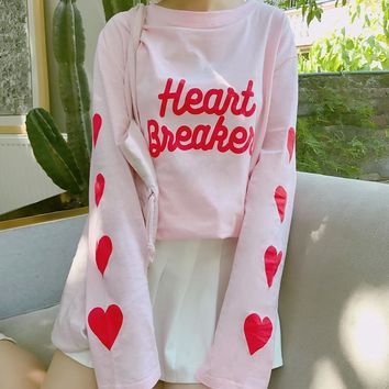 Ulzzang Harajuku Kawaii Pink Sweet Heart Print Long Sleeve T Shirt Tops Women Autumn 2018 Korean Heart Letter Tshirt Tops Tumblr