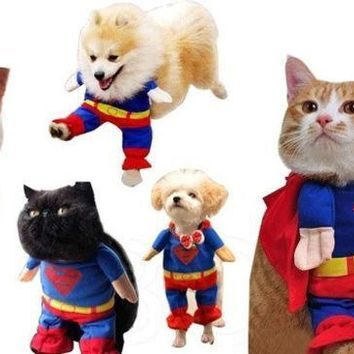 PEAPIX3 Puppy lovely Superman Pet Dog Clothes Halloween apparel Costumes Cute Jumpsuit (Size: XS) = 1929967492