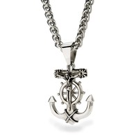 Mens Stainless Steel Anchor Jesus Cross Pendant Necklace