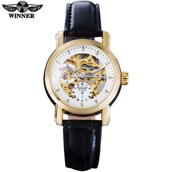 TWINNER fashion women mechanical watches leather strap casual brand ladies skeleton watches women's dress wristwatches relogio