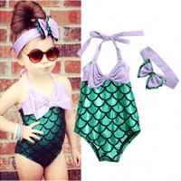 Baby Girls Mermaid Bow Bikini Suit Swimwear Swimsuit Bathing Swimming Clothes