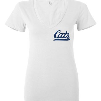 Official NCAA Venley University of Arizona Wildcats U of A Wilber Wildcat BEAR DOWN! Cats Baseball Tail Ladies Deep V-Neck - 12UA-1-a