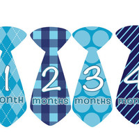 Baby Month Stickers Baby Boy Monthly Onesuit Stickers Blue Plaid Preppy Boy Tie Baby Month Stickers Baby Shower Gift Photo Prop Owen2
