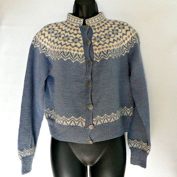 Made in Norway - Hand Knit Wool Nordic Cardigan Sweater - Snowflake, Fair Isle, Ski - Blue & White - Cute Retro Style!