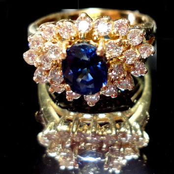 Cornflower Blue Sapphire Engagement Ring, Wedding, Anniversary, or Right Hand Ring w 22 Diamonds in Solid 14K Gold