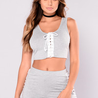 Phys Ed Lace Up Top - Grey/White