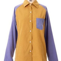 Patch Sleeve Shirt in Mustard/Blue - New Arrivals - Retro, Indie and Unique Fashion