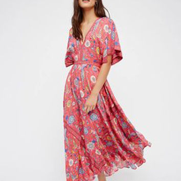 "Bohemian  ""Lovebird"" Half Moon Long Floral Gown Deep V Front & Back Tassel Ties Maxi Dress"