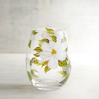 Magnolia Painted Stemless Wine Glass