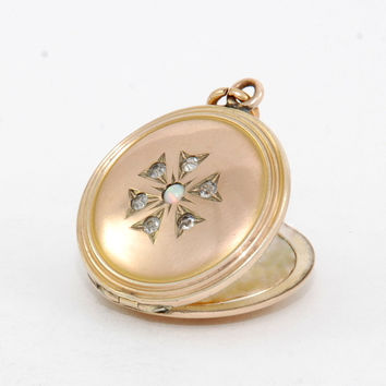Opal Floral Starburst Locket