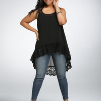 Plus Size Women Clothing 2016 Summer Style Women Blouses Big Size Black Lace Tank Tops Large Size Casual Chiffon Blouse 6XL