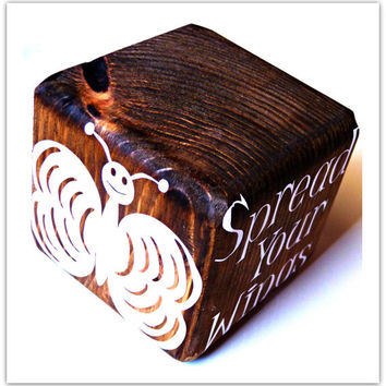 Spread Your Wings and Fly Decorative Block Wood Home Decor