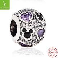 Hot Sale 925 Sterling Silver Mickey & Hearts Charms Fit Original Pandora Bracelet Pendant For Women Authentic Jewelry Disney ALX-SCJS ALX-SCJS