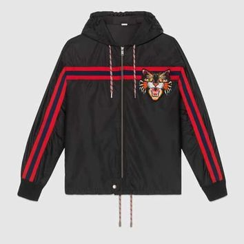 GUCCI Women/Men Nylon windbreaker with Angry Cat applique