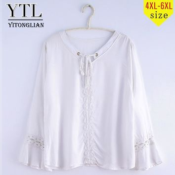YTL Woman Plus Size Tunic Top Cotton Summer Crochet Front Tie Flare Long Sleeve Loose White Casual T-shirts Tee 4XL 5XL 6XL XD03