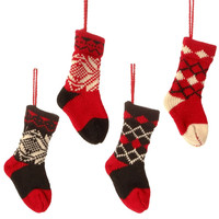 Christmas Cabin Knit Christmas Stocking Ornaments 6-in - Set of 4