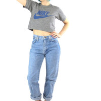 80s 90s High Waist Wrangler Jeans Light Wash Boyfriend Jeans Hipster Mom Jeans Light Denim Straight Leg Jeans (S)