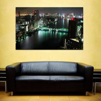 """canik162 Canvas Print Stretched Japan Tokyo panorama night 26x43"""""""
