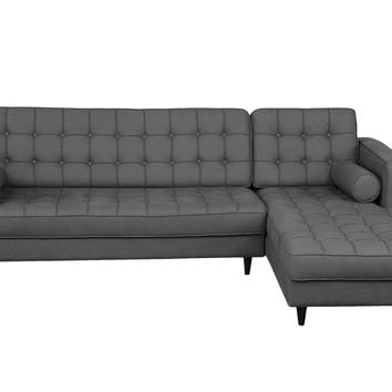 Romano Sectional Tufted Dark Grey Fabric Right