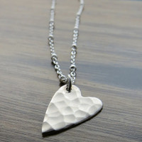 CLEARANCE - Sterling silver hammered heart handmade necklace pendant on beaded chain - SALE
