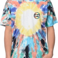 Stussy Dot Blue & Rasberry Tie Dye T-Shirt
