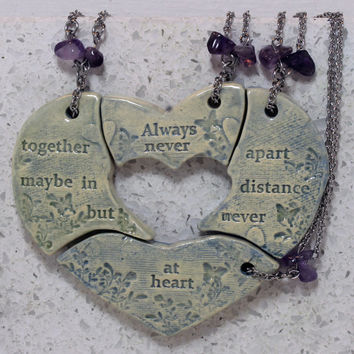 Friendship necklaces set of 4 puzzle pieces Heart with friendship quote Always together Aromatherapy