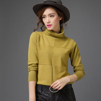 new high quality fashion women Turtleneck basic knitted shirt female long-sleeve Solid color pullover loose plus size sweater