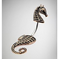 14 Gauge Gold Seahorse Belly Ring - Spencer's