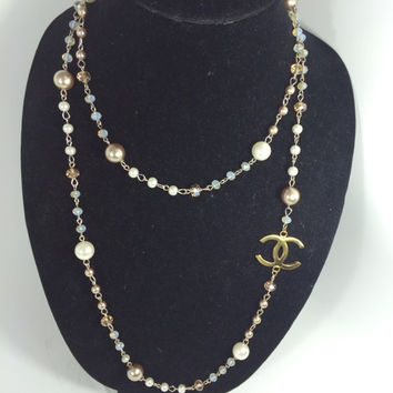 Long Pearl And Gold Necklace W Chanel Charm  (Handmade)