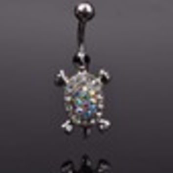 Lovely Charmful Multicolor Crystal Cute Turtle Dangle Body Piercing Navel Belly Button Bar Ring