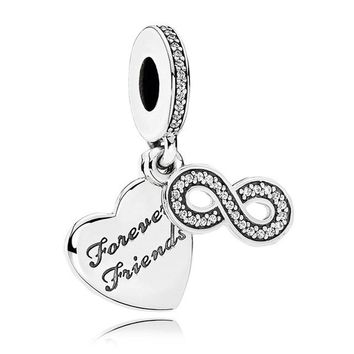 Authentic S925 Sterling Silver DIY Jewelry Forever Friends Dangle Charm fit Pandora Bracelet Bangle Girl Gift Clear CZ Bead