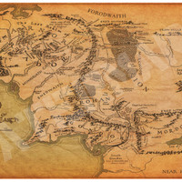 "Map of Middle Earth from The Lord of the Rings and The Hobbit Poster Print Size 11"" x 17"""
