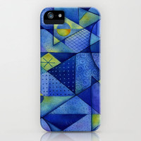 Blue Triangles iPhone Case by Janet Broxon | Society6