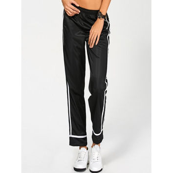 Elastic Waist Striped Track Pants