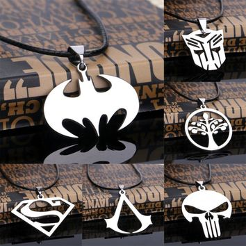 Newest Cosplay Assassins Creed Skull Bat Animals Pendant Necklace Stainless Steel Charm Jewelry Women Men Children Friends Gifts