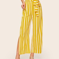 Split Striped Self Tie Paperbag Waist Pants