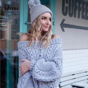 Elegant Off Shoulder Puff Sleeve Knitted Sweater Sexy Elastic Casual Pullover Women Autumn Winter Pull Basic Jumper 2017