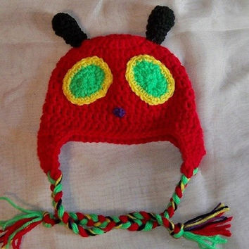 Very Hungry Caterpillar Hat.  Crochet Hungry Caterpillar Hat.  Halloween Costume . Baby Caterpillar Hat. Photo Prop