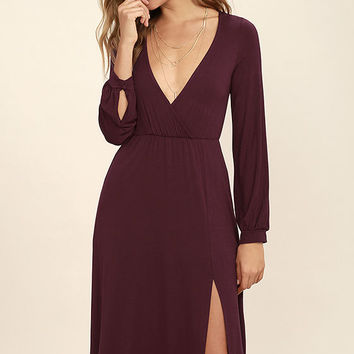 Right for Me Plum Purple Long Sleeve Midi Dress