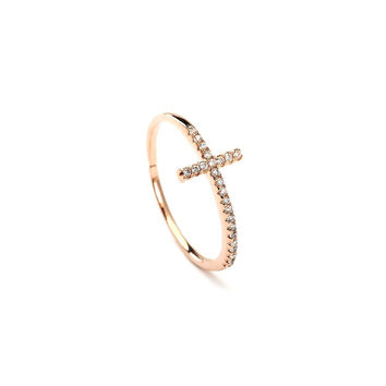 Sleek Cross Studded Rose Gold Plated Ring