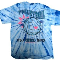 Volleyball Tie Dye T-shirt It's A Girl Thing-blue