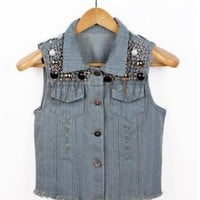 New Womens Sequin Bead Chain Denim Sleeveless Waist Jacket Outerwear Jean Vest