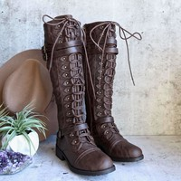 tall lace up combat boot - brown