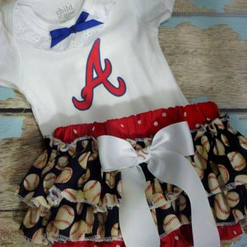 Girls Atlanta Braves Game Day Outfit, Baby Girls Baseball Outfit, Baby Shower Outfit, Ruffled Bloomers