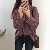 3 color 2018 korean chic autumn and winter fashion turtleneck long-sleeve pullover knitted sweaters womens (A9162)