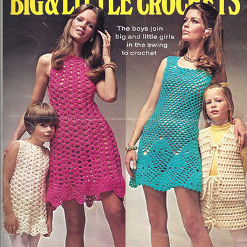 Columbia Minerva Leaflet 2519, Big & Little Crochets, Child Poncho, Child and Miss Dresses, Vests, From 1970, Vintage Pattern, Home Crafts