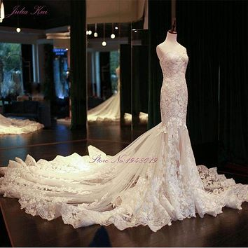Vintage Mermaid Wedding Dresses Beading Embroidery Appliques Lace Elegant Bride Dress
