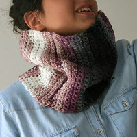 Striped Neck Warmer in Shades of Purple, Grey and White - Cowl - Snood - Fall Winter Fashion - Teens Women Accessories
