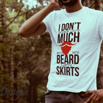 Special Hand Drawn Beard Lift Skirts  Design Cotton DTG Print T Shirt - Graphic Tee - Unique Gift For Men