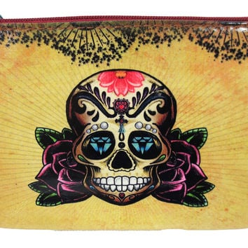 Vintage Tattoo Sugar Skull - Rose and Anchor Art Small Flat Pouch
